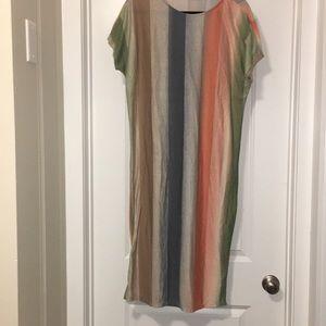 Midi cotton striped dress